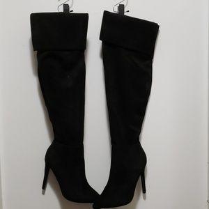 Glaze Black Velvet Knee High Stiletto Heel Boots
